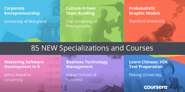 Now 85 New Specializations and Courses on Coursera