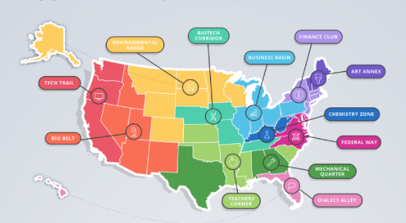 United States of Knowledge: Coursera's 12 Learning Regions