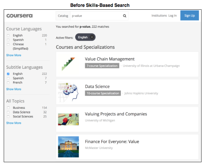 Find the right course faster: Search by skill